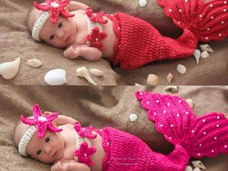 Newborn Crochê Bebê Menina Sereia prop Foto lembrancinha Criança