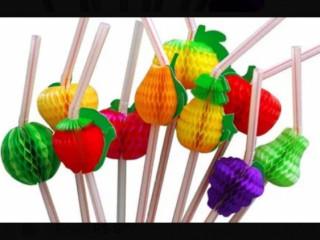 Canudos decorados de frutas para drinks e bebidas havaiana