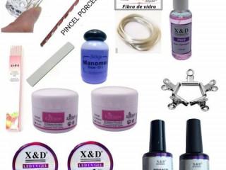 Kit Produtos Para Unhas De Gel Acrigel Porcelana Fibra