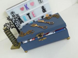Caixa Azul com kit guardanapo