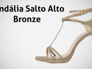 Sandália Feminina Salto Alto Prata Bronze