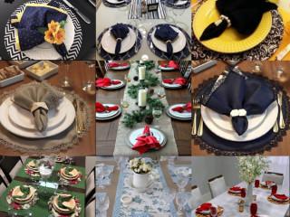 Kit 4 guardanapo's de mesa posta + 4 prendedor de guardanapo