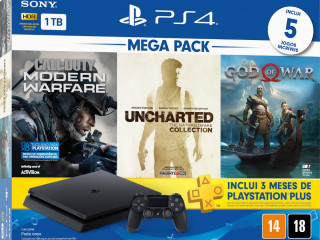 Ps4 1TB  Sony + 5 Jogos + 3 meses PS Plus (Bundle Hits 7)