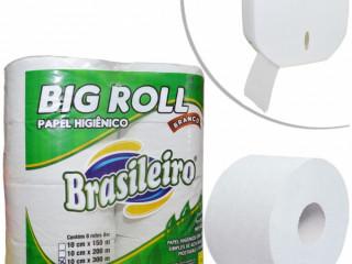 Papel Higiênico Branco/Creme Big Roll 10cm x 300mts Brasileiro (08 uni