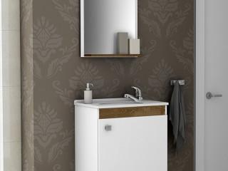 Gabinete de Banheiro Completo c/Torneira Cor Branco Madeira