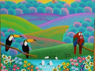 Robson Barros artista naif medida 50x40