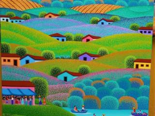 Robson Barros artista naif tela medida 50x40