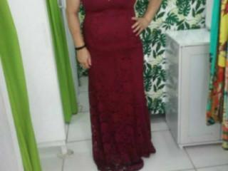 Vestido de festa rendado  marsala longo G.