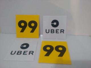 adesivo uber/99 ou plaquinha
